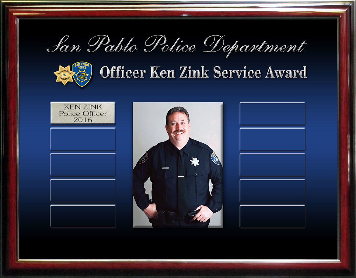 San Pablo PD - Ken Zink Award Prepetual Plaque from Badge Frame 11/2016